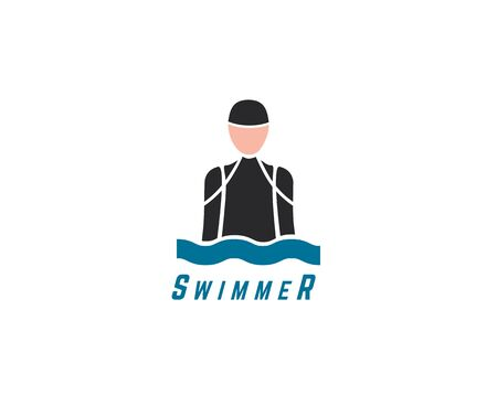 Abstract vector element. Swim, sport, dive club or triatlon template. Stock illustration for design