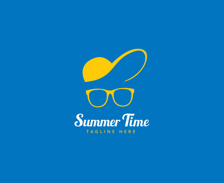 vocation: Abstract vector element. Vocation, summer time, glasses with cap. Stock illustration for design