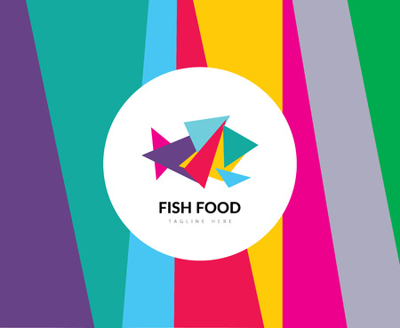 sea fish: Abstract vector element. Color fish food template. Stock illustration for design Illustration