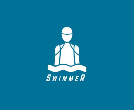 Zusammenfassung Vektor-Element. Schwimmer oder Tauchclub oder Triatlon Vorlage. Stock illustration für Design