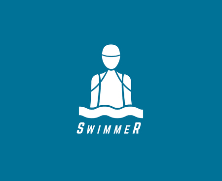 Abstract vector element. Swimmer or dive club or triatlon  template. Stock illustration for design Illustration