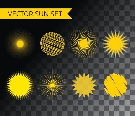 morning sun: Abstract vector  element. Sun, summer and holiday. Stock illustration for design Illustration