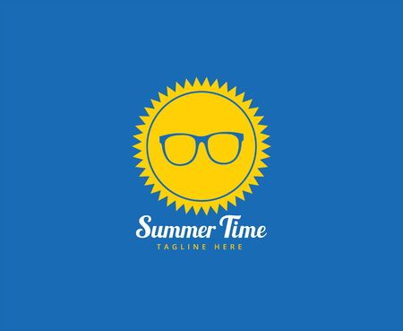 time: Abstract vector  element. Sun, summer time, glasses and holiday. Stock illustration for design Illustration
