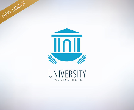 college building: University vector icon. Education, students or school and college symbol. Stock design element. Illustration