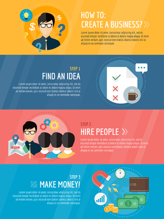command: Startup business creation infographic. Command, labor, idea and work with new team. Vector stock illustration for design