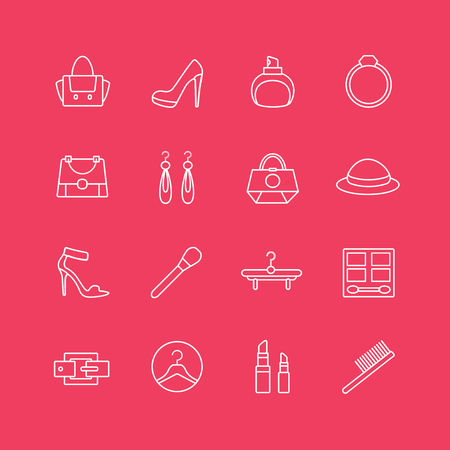 spa stuff: Womens clothes  icons set.