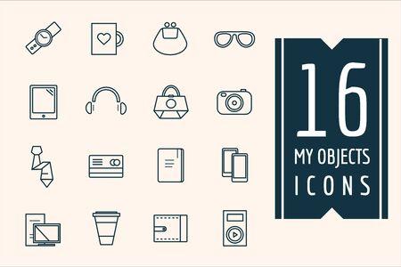 paraphernalia: Personal objects icons set. Illustration