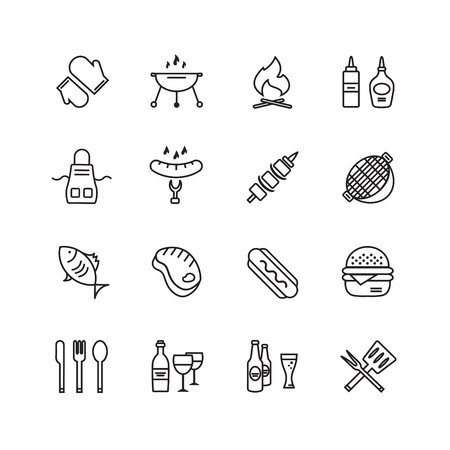food icons: BBQ and Food Icons Set.