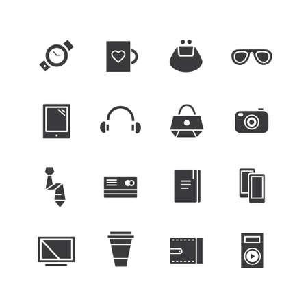paraphernalia: Mobile objects icons set.