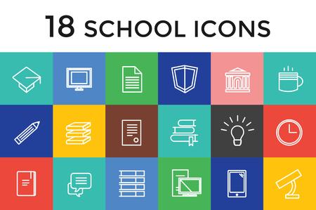 diploma: Volver a la escuela 16 iconos conjunto. Objetos de la ciencia o de la universidad y de la universidad símbolos. Elementos de diseño.