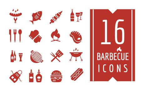 Barbacoa y los iconos de comida Objetos establecen. Al aire libre, Cocina totalmente equipada o símbolos de la carne. Elementos de diseño de la