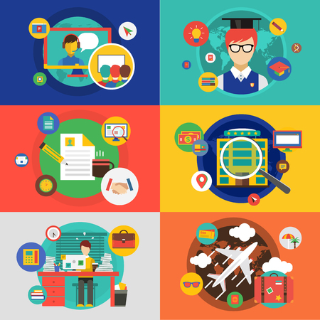 stock illustrations: infographic objects set. Startup, Travel, School and office. Stock illustrations for design Illustration