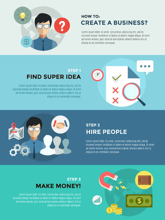 command: Startup business creation infographic. Command, labor, idea and work with new team. stock illustration for design