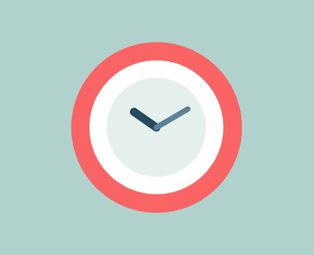 round the clock: Red Clock icon isolated. Watch objects, or time and office symbol. Stock design element.