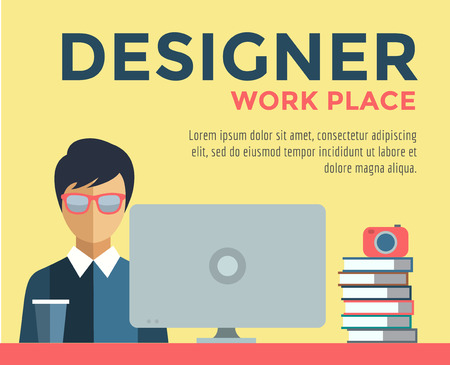 work place: Designer on work place illustration. Objects, office and creative symbols. Stock design elements. Illustration