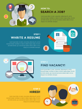 cv: Job search after university infographic. Students, labor, searching and professions.