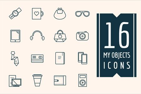 paraphernalia: Personal objects icons set. Mobile, electric and Technic symbols. Stocks design elements.