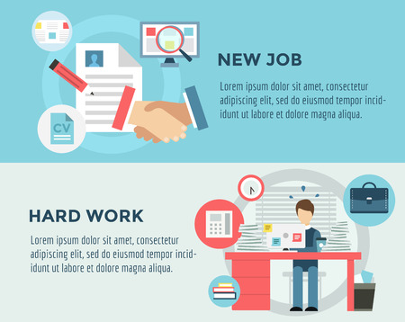 career job: New Job after Hard Work infographic. Students, Stress, Clerk and Professions.