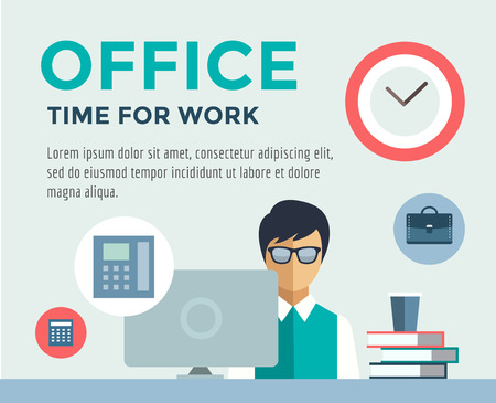 job: Clerk at Work infographic. Office, Table, Designer and Computer.  Illustration