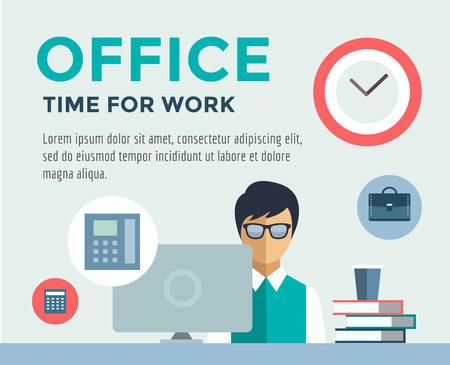 puesto de trabajo: Vendedor en la infograf�a trabajo. Oficina, Mesa, Dise�ador y PC. Vectores