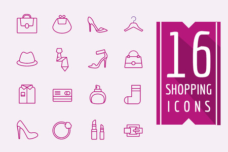 interface elements: Fashion e-commerce icons set. Shopping symbols. Interface elements Stock illustration