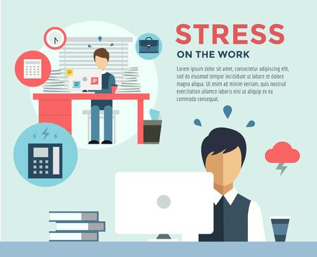 스트레스 작업 인포 그래픽 후 새 작업. 학생, 스트레스, 서기 및 직업. 일러스트