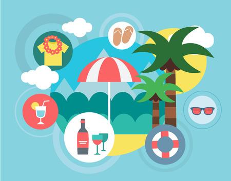 umbella: Travel on the Island illustration. Umbrella, Sea and Palm symbols.