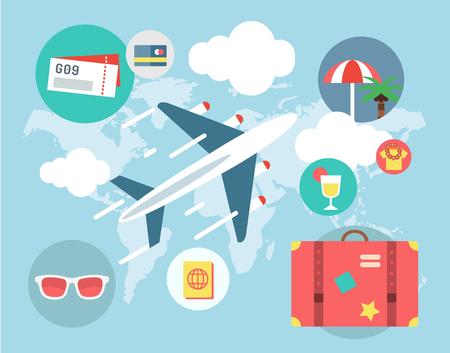 umbella: Travel by Plane illustration. Plane, Baggage and Glasses symbols. Stock design elements