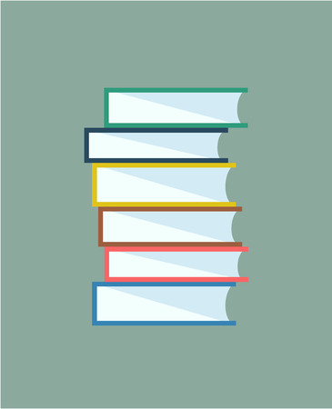 digital book: Books stack. Icon isolated. School objects, or university and college symbols. Stock design elements.