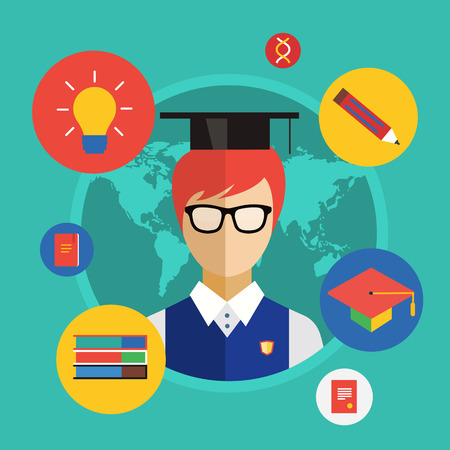 college student: Flat student for school illustration. Science objects, or University and College symbols. Stock design elements.