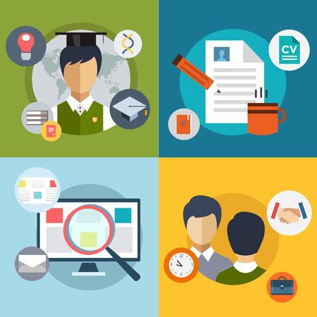 hoja de vida: Buscar trabajo nuevo. infografía. Trabajo, Oficina, Lupa y Profesiones. Vectores