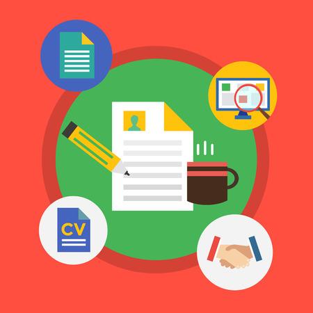 articulos de oficina: Herramientas de la oficina. objetos de infografía. Hoja de documento, Web Elements, una taza de té y el ordenador. El diseño de la ilustración