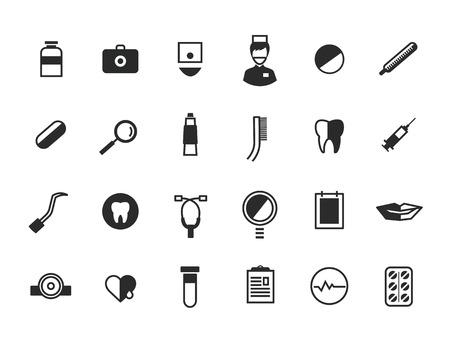 dna smile: Medical Icons Set. Health or doctors and hospital symbols. Stock illustration. Interface elements..