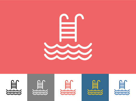 swimming pool water: Pool icon isolated. Waves, Summer or Stairs and Vacation symbol. Stock design element.