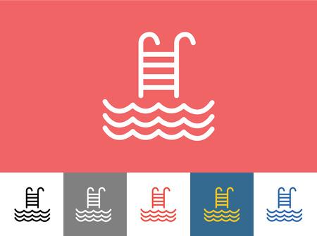 Pool pictogram geïsoleerd. Golven, de zomer of Trappen en vakantie symbool. Stock design element. Stock Illustratie