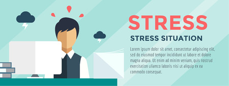 Accountant: Clerk at Stress Illustration. Office, Table, Designer and Computer.