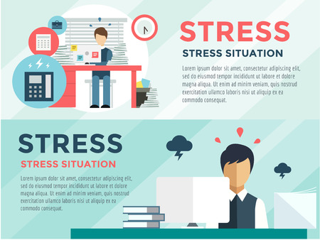 working woman: Stress on the work. Office life and business man. Stock design elements