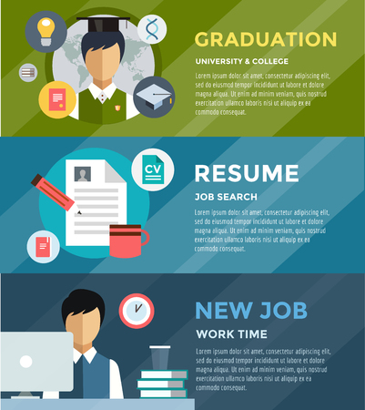 job search: Job search after university infographic. Students, labor, searching and professions. Vector stock illustration for design Illustration