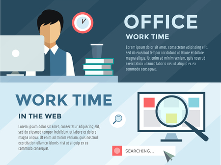 louse: Clerk in office infographic. Work, time, louse and computer.