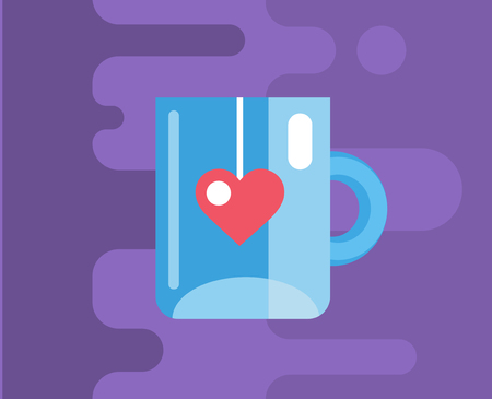 coffee: Blue cup. icon. Tea, object or drink and food symbol. Stock design element.