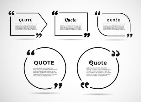 fond de texte: Citer texte bulle. Virgules, note, message et commentaire. Illustration