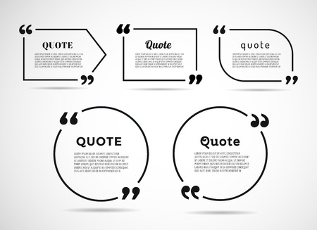 message box: Quote text bubble. Commas, note, message and comment. Illustration