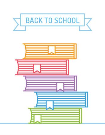 libros: Libros lineales pila. Educación, universidad y conocimiento o libro, de nuevo a la escuela. Vector libro. Vectores