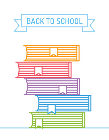 book stack: Linear books stack. Education, university, college and knowledge or book, back to school. Book vector. Illustration