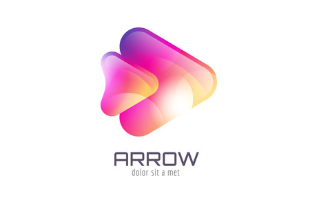 arrow button: Vector logo template. Abstract arrow shape and symbol, icon or creative, idea, flow. Stock illustration. Isolated on white background Illustration