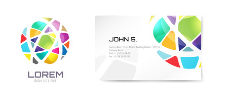 Vector globe logo and business card template. Abstract arrow design and creative identity idea, blank, paper. Stock illustration. Isolated on white background.