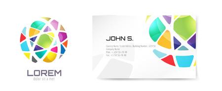 Vector mundo logotipo y tarjetas de visita. Diseño abstracto de la flecha y la idea identidad creativa, en blanco, papel. Ilustración. Aislado en el fondo blanco. Foto de archivo - 42852611