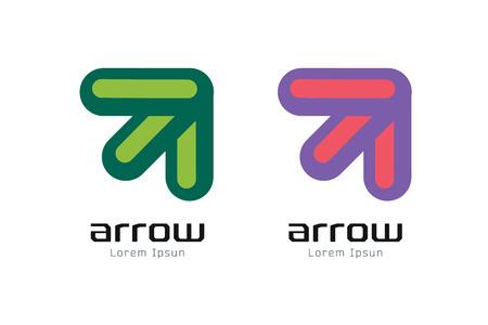 flecha: La flecha del vector abstracto logotipo de la plantilla. Arriba, símbolo de la forma, icono, idea creativa y flujo, dinámico o en movimiento. La identidad de la empresa. Ilustración