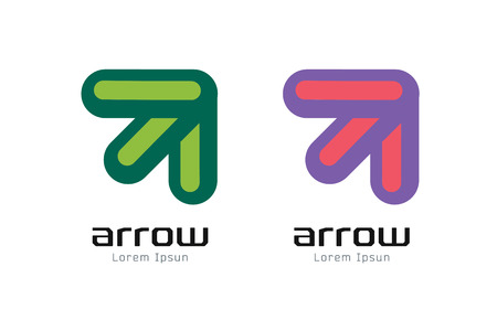 arrow: Vector arrow abstract logo template. Up, shape symbol, icon, creative idea and flow, dynamic or moving. Company identity. Stock illustration
