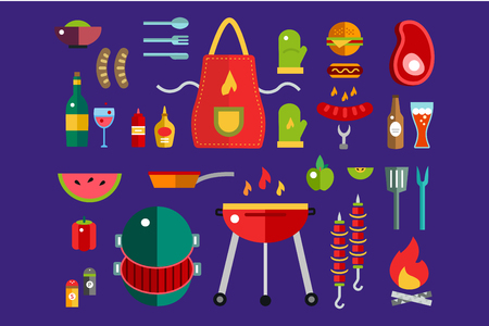 key ideas: BBQ and Food Icons Vector Set. Outdoor, kitchen, meat and grill, burger, eat food symbols. Stock design elements. Key ideas is outdoor food, barbecue party, black icons, logo elements